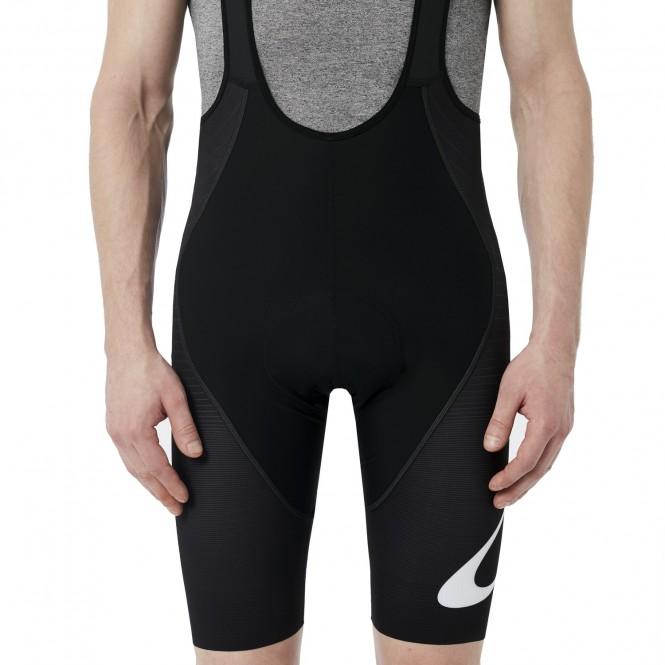 Premium branded pyöräilyhousut pehmuste ja henkselit (lyhyt, blackout)