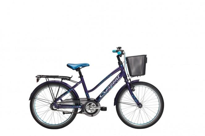 """Saga 20"""" lasten polkupyörä (Nexus 3-v, lila, etukori)"""