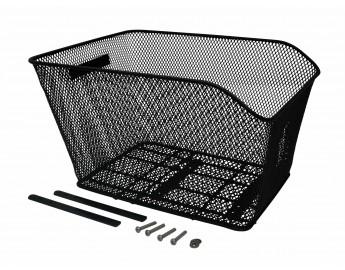 Polkupyörän tavarakori tavaratelineeseen (41x33x25/20cm, musta, sis kiinnikkeet)